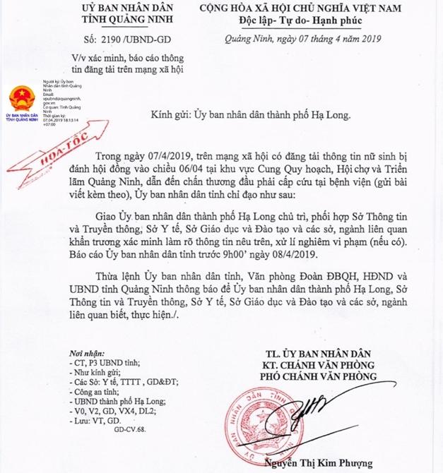 UBND tỉnh Quảng Ninh có Văn bản hỏa tốc chỉ đạo xác minh, làm rõ sự việc.
