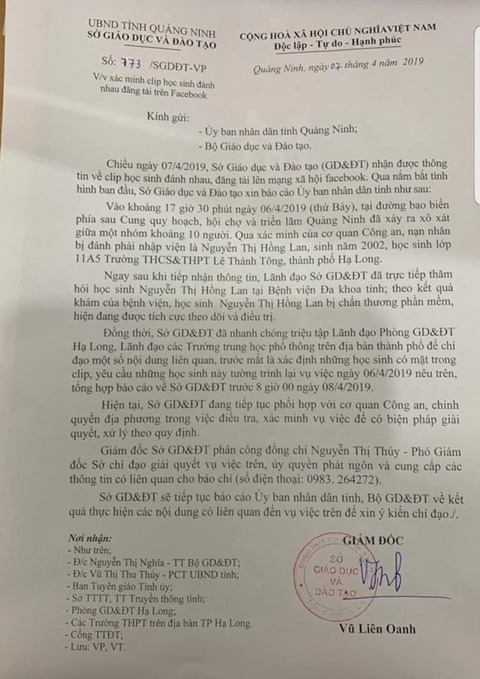 Nội dung Báo cáo sự việc của Sở GD&ĐT gửi Lãnh đạo UBND tỉnh Quảng Ninh và Bộ GD&ĐT.