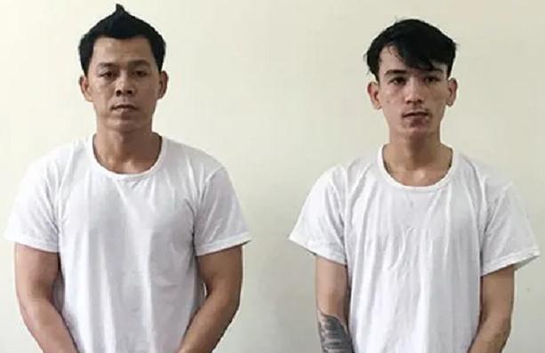 Hai anh em Lê Hoàng Phi và Lê Văn Hoàng tại cơ quan Công an.