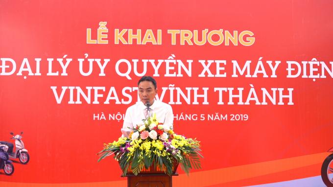 Ông Chu Minh Thịnh - Giám đốc Công ty Vĩnh Thành phát biểu trong buổi khai trương