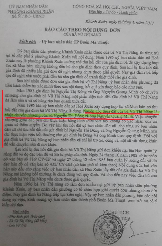 """Văn bản của UBND P. Khánh Xuân năm 2013 nêu: """"Nguồn gốc thửa đất của bà Năng là nhận chuyển nhượng của bà Đông và ông Minh""""."""