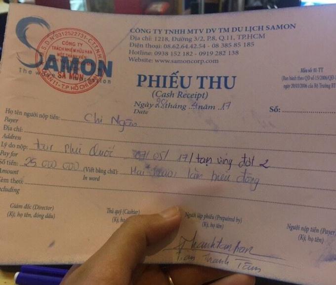 Ngày 28/4, chị Ngân cũng đã nộp 25.000.000 đồng tiền phí tạm ứng lần 2 cho Công ty Du lịch Samon.