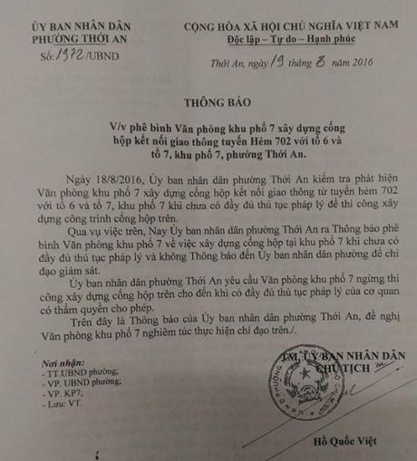 Khi sai phạm thì chính ông Hồ Quốc Việt ký giấy phê bình Khu phố 7.