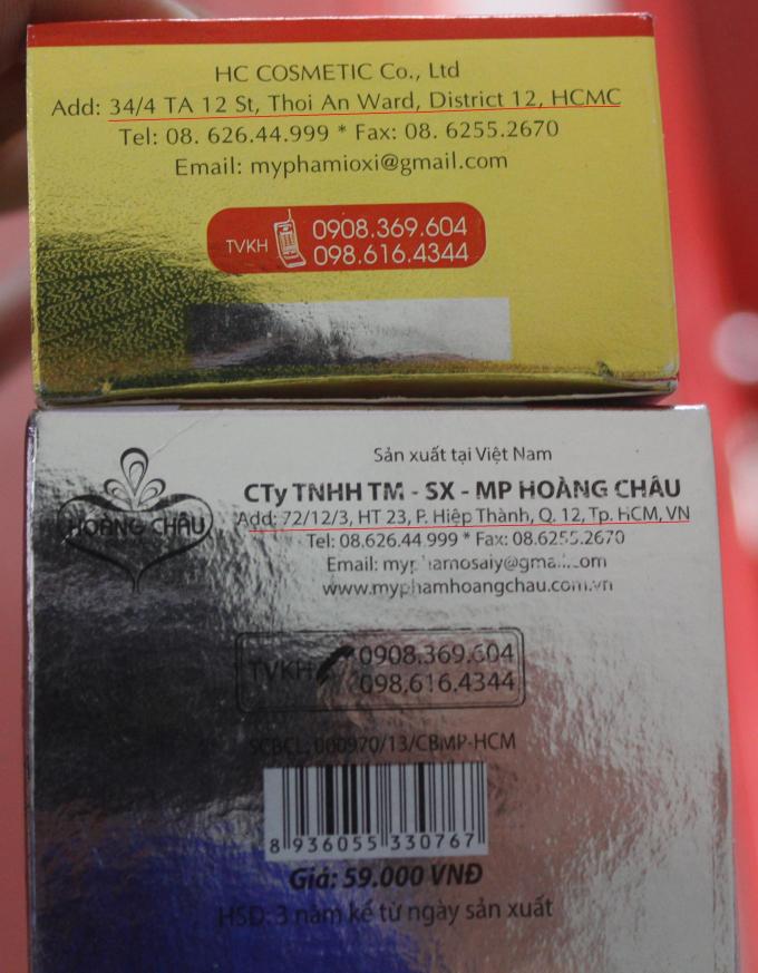 Hai sản phẩm mỹ phẩm này cùng hiệu Hoàng Châu nhưng có 2 địa chỉ khác nhau, một địa chỉ không có thực, liệu đây là sản phẩm sản xuất chui?