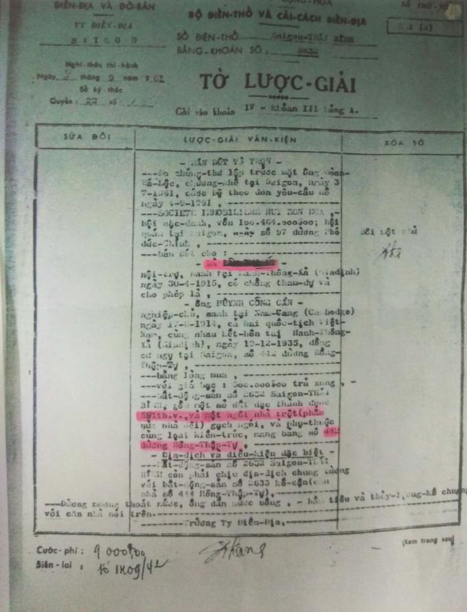 Tờ lược giải có thông tin sổ điền thổ và bằng khoán được cấp cho bà Lâm Thị Út.
