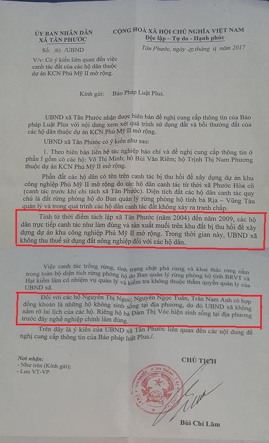 UBND xã Tân Phước xác nhận việc sử dụng đất của các hộ dân.