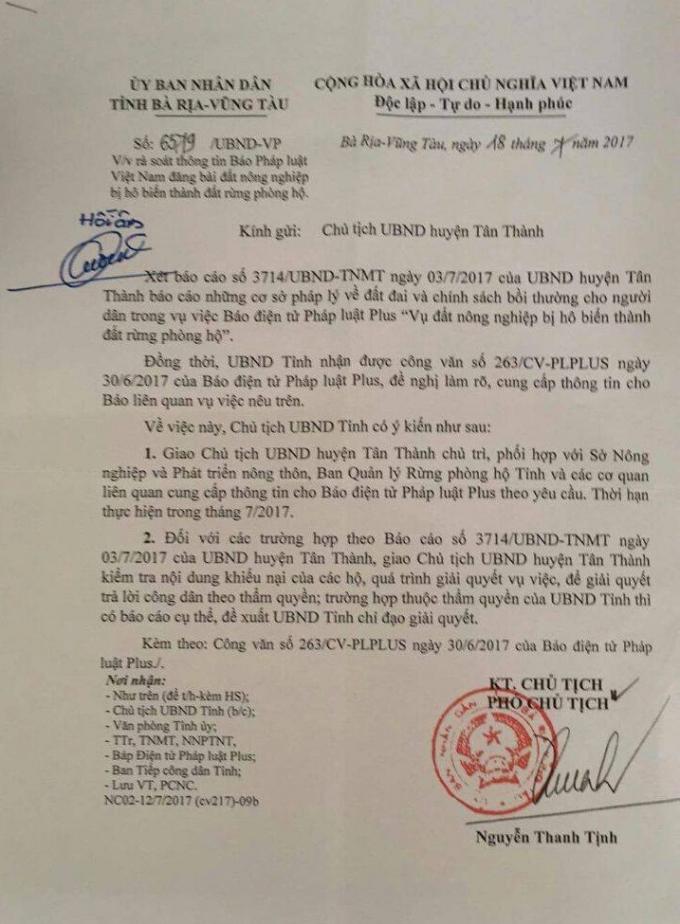 Công văn số 6579/UBND –VP của UBND tỉnh Bà Rịa - Vũng Tàu chị đạo về việc rà soát thông tin Pháp luật Plus đã phản ánh.