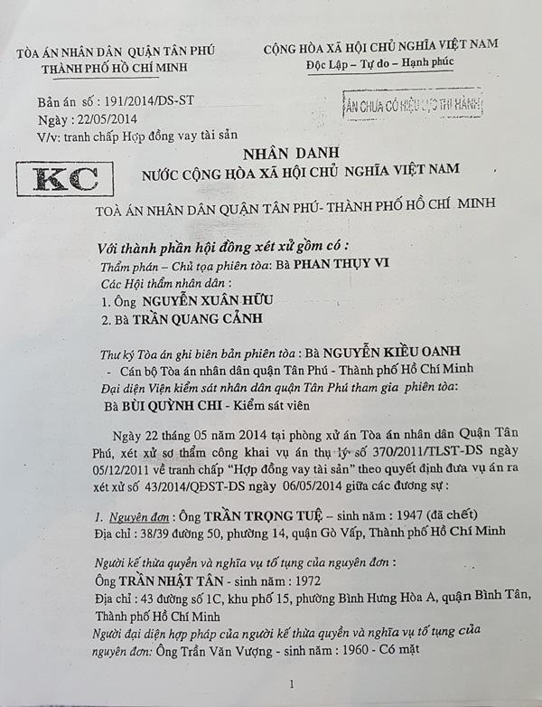 Bản án sơ thẩm số 191/2014/DS-ST của TAND quận Tân Phú.