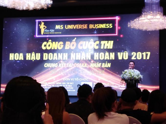 """Chiều ngày 4/9, tại Trung tâm hội nghị tiệc cưới Gala (Q. Tân Bình), Công ty Cổ phần giải trí HKT đã tổ chức công bố Cuộc thi """"Hoa hậu doanh nhân hoàn vũ 2017""""."""