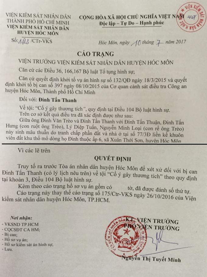 Cáo trạng số 123/CTr- VKS củaViện KSND huyện Hóc Môn.
