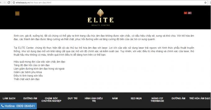 Trang website có tên Elitebeauty quảng cáo dịch vụ làm trẻ hóa âm đạo.