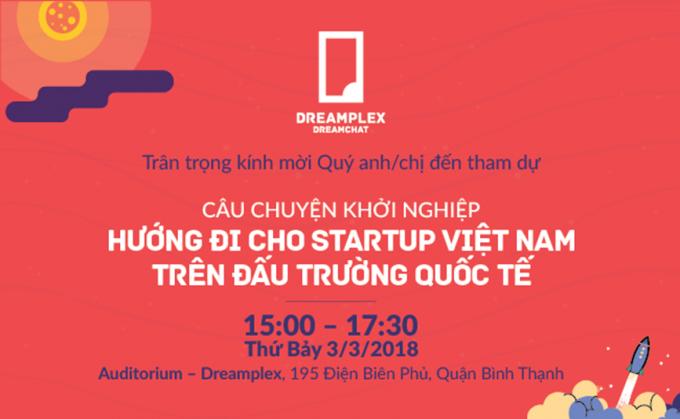 Chương trình StartUp Talk sẽ được tổ chức ngày 3/3/2018 tại Hội trường Auditorium – Dreamplex 195 Điện Biên Phủ, Quận Bình Thạnh, TP HCM.