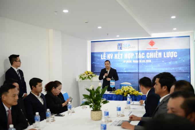 Ông Trần Hiền Phương, Tổng Giám đốc Công ty CP BĐS SeaHoldings phát biểu trong buổi lễ ký kết hợp tác chiến lược