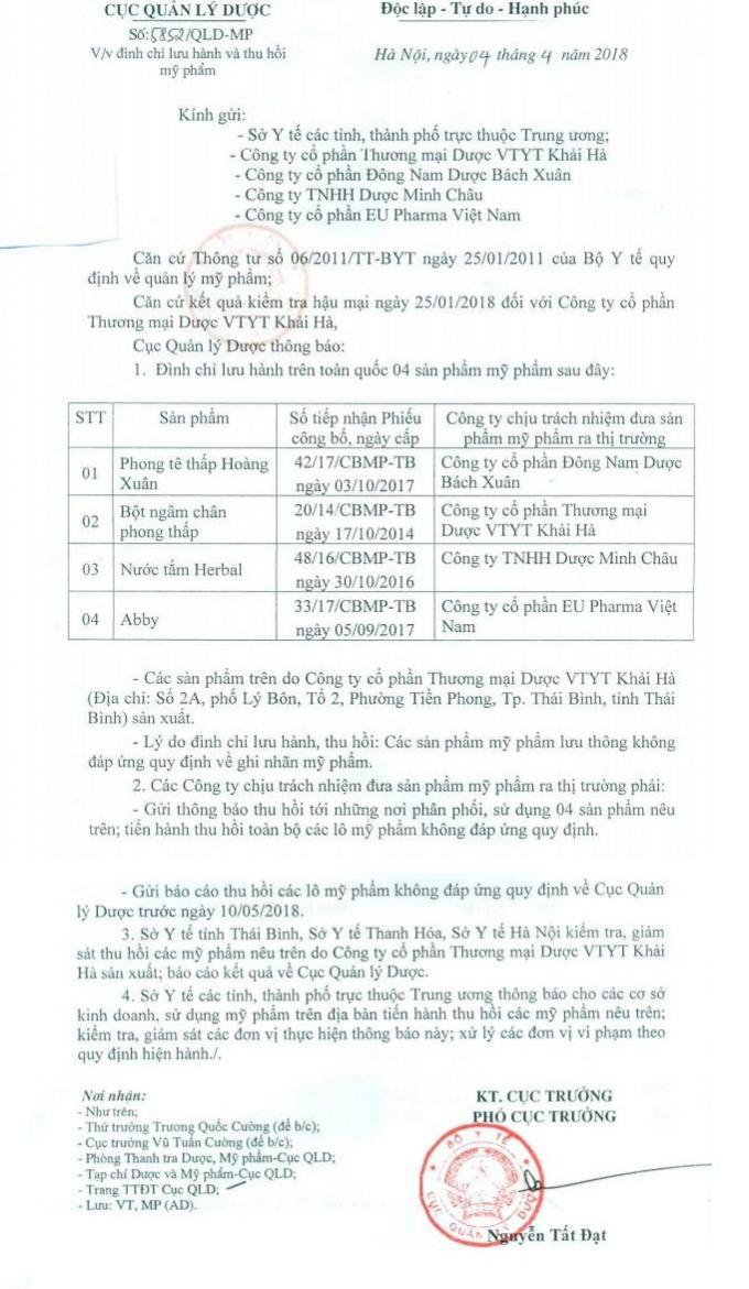 Văn bản của Cục Quản lý Dược - Bộ Y tế về việc đình chỉ lưu hành và thu hồi các sản phẩm mỹ phẩm do Công ty Khải Hà sản xuất