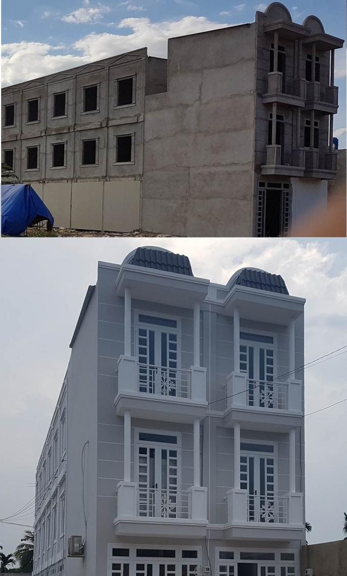 Một công trình nhà ở riêng lẻ khác tại phường Thạnh Lộc trước và sau khi được phản ánh kiểm tra.