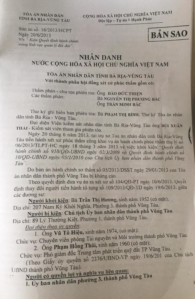 """Bà Rịa - Vũng Tàu: Chính quyền """"thi gan"""" với bản án đã có hiệu lực pháp luật"""