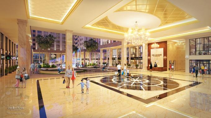 Khu vực sảnh đón sang trọng và đẳng cấp dành riêng cho cư dân của Dream Home Riverside.