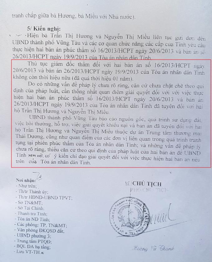 Văn bản số 420/UBND-PTQĐ gửi UBND tỉnh BR-VT báo cáo việc thực hiện 2 bản án phúc thẩm của TAND tỉnh BR-VT, trong đó cũng cho rằng bản án có pháp lý chưa rõ ràng.