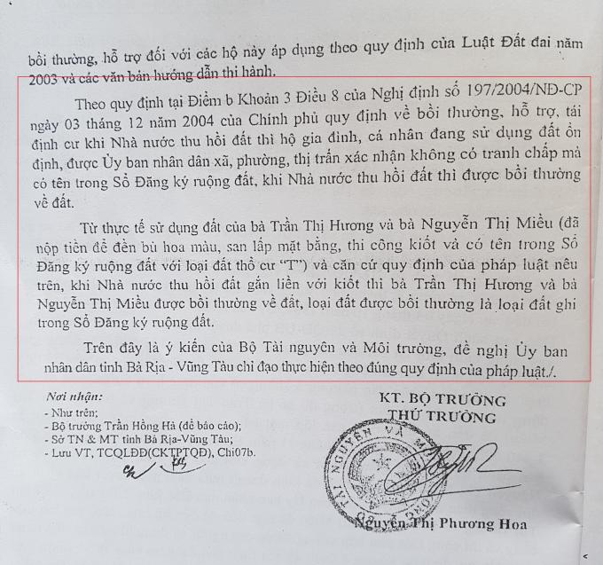 Văn bản số 365/BTNMT-TCQLĐĐ của Bộ TN&MT gửi UBND tỉnh BR-VT cho biết, trường hợp bà Hương và bà Miều được bồi thường về đất.