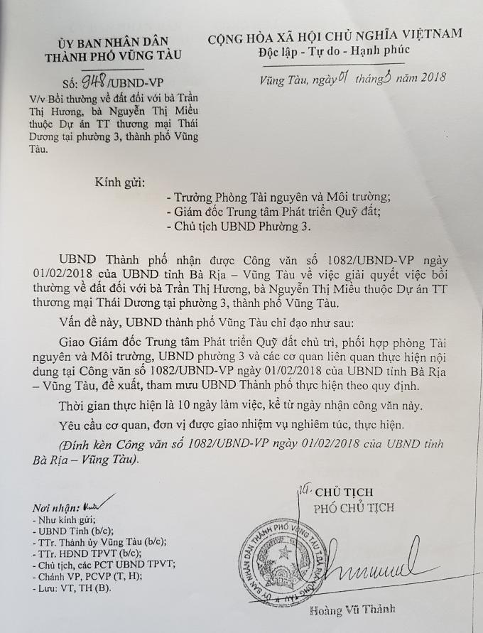 Văn bản của UBND TP Vũng Tàu đá trách nhiệm cho Trung tâm PTQĐ.