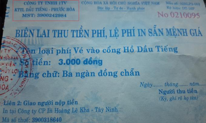 Vé vào cổng có con dấu và đề tên Công ty TNHH 1TV KTTL Dầu Tiếng – Phước Hòa.