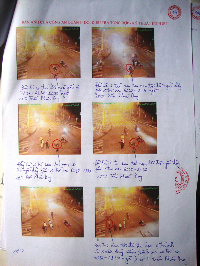 Bản ảnh nhận dạng hiện trường vụ tai nạn của Trần Phúc Duy.