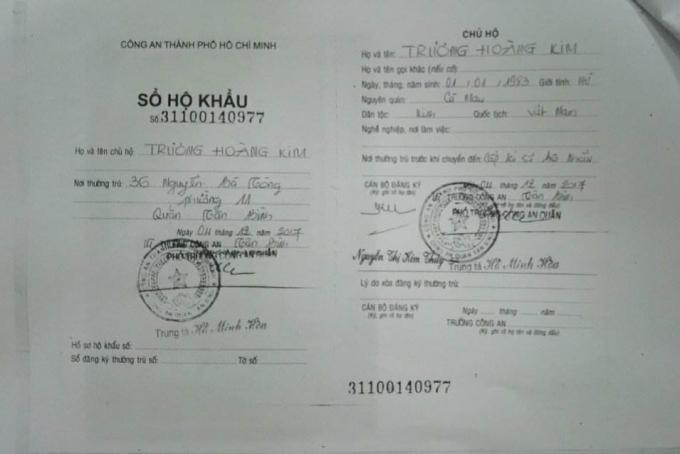 Sổ hộ khẩu của chị Kim đăng kí địa chỉ tại số nhà36 Nguyễn Bá Tòng, phường 11, quận Tân Bình.