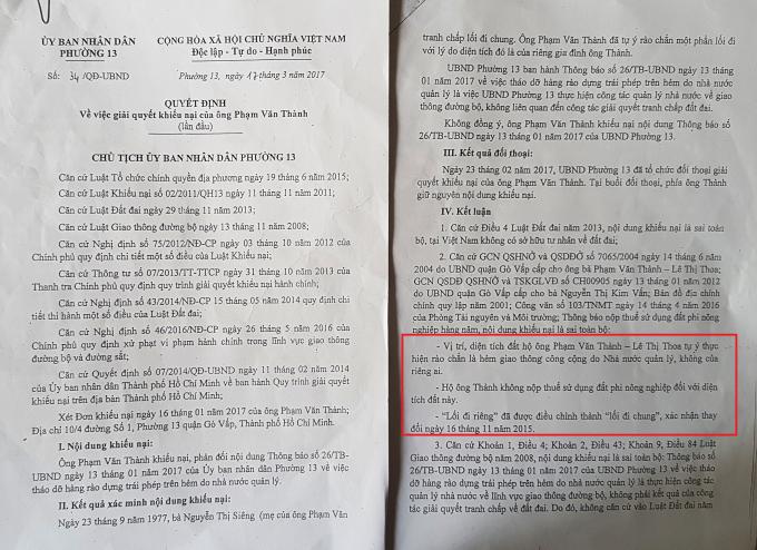 Quyết định số 34/QĐ-UBND giải quyết khiếu nại của ông Thành.