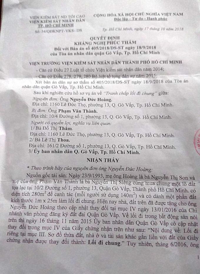 Quyết định kháng nghị phúc thẩm của Viện Kiểm sát nhân dân TP HCM.