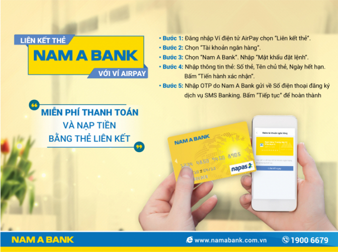 Việc liên kết tài khoản không chỉ giúp khách hàng thuận tiện trong thanh toán mà còn có cơ hội nhận được nhiều ưu đãi hấp dẫn từ Nam A Bank và AirPay.