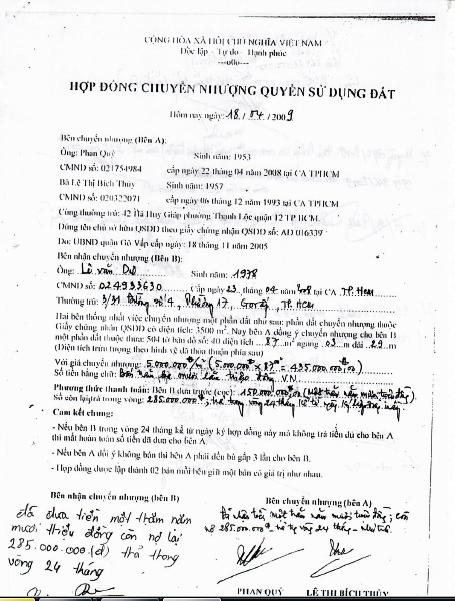 Hợp đồng chuyển nhượng QSDĐ được ông Quý bán cho ông Dư vào năm 2009.