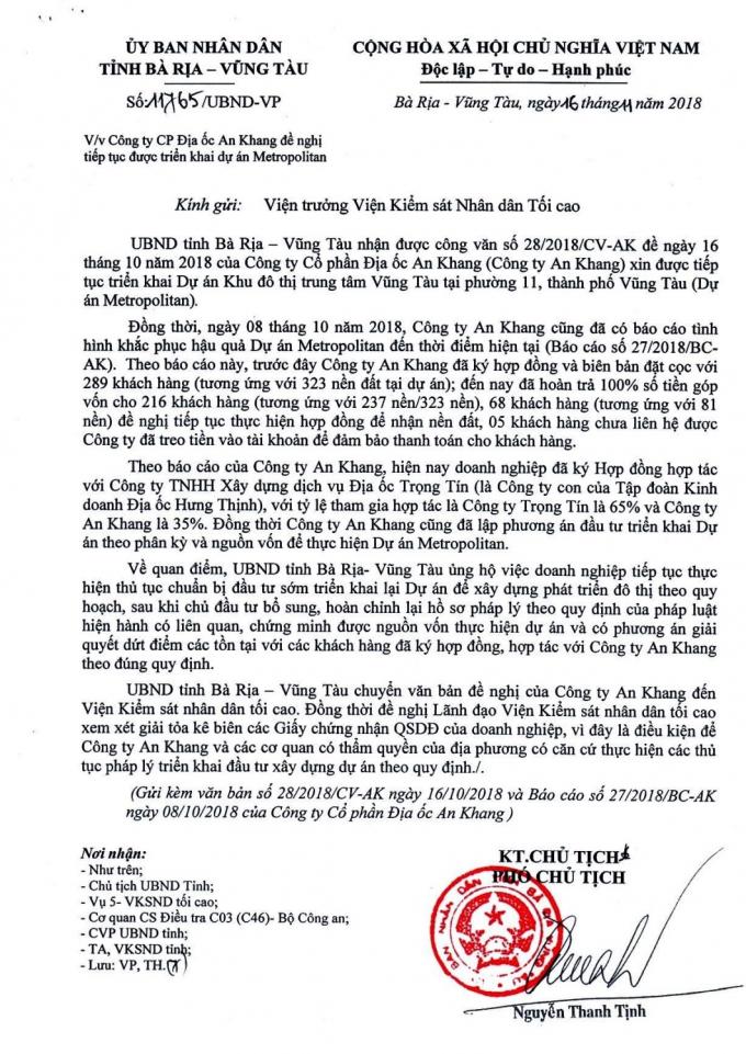 Công văn của UBND tỉnh BR-VT gửi Viện trưởng Viện Kiểm sát nhân dân tối cao.