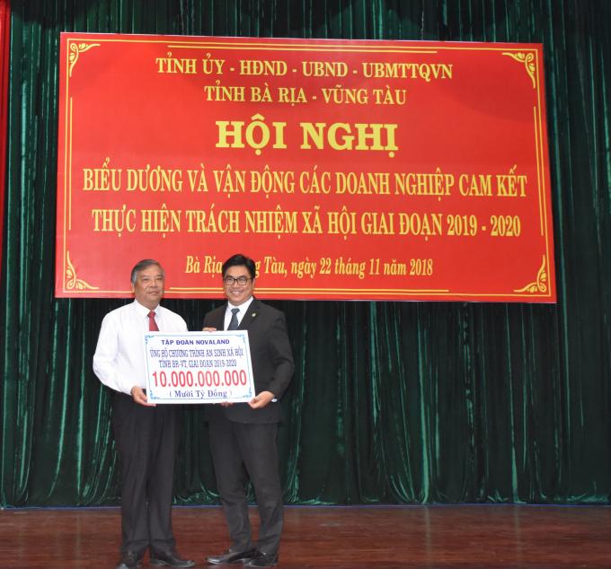 Tập đoàn Novaland cam kết thực hiện trách nhiệm xã hội giai đoạn 2019 - 2020 tại tỉnh Bà Rịa – Vũng Tàu với kinh phí 10 tỷ đồng.