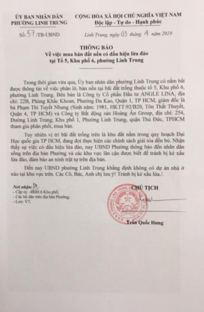 Thông báo của UBND phường Linh Trung, Thủ Đức cảnh báo người dân về 2 Công ty có dấu hiệu lừa đảo bán đất nền thuộc quy hoạch xây dựng trường ĐH Quốc gia TP HCM