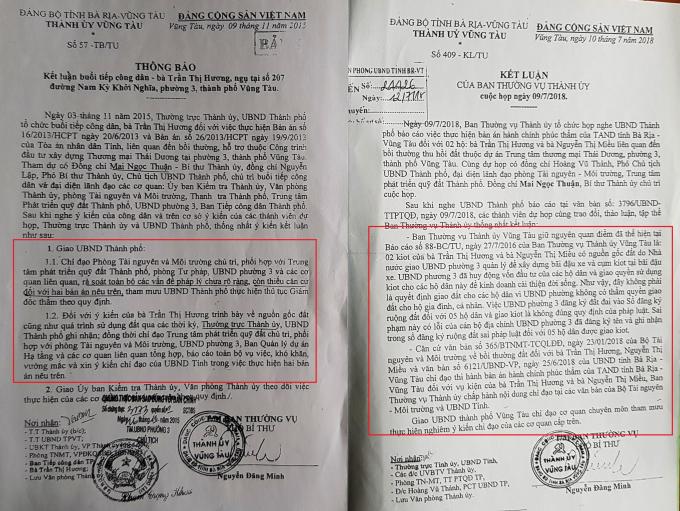 Các văn bản của Thành ủy TP Vũng Tàu cho rằng bản án phúc thẩm của TAND tỉnh BR-VT thiếu căn cứ.