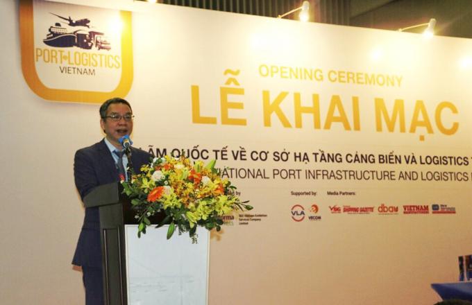 Ông Đào Trọng Khoa – Phó Chủ tịch VLA phát biểu tại Lễ Khai mạc Triển lãm Quốc tế về cơ sở hạ tầng cảng và logistics tại Việt Nam (VIPILEC)