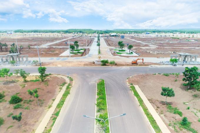 Tiến độ hạ tầng dự án nhìn từ trên cao.