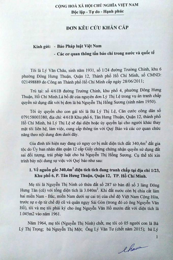 Đơn kêu cứu của ông Lý Văn Châu.