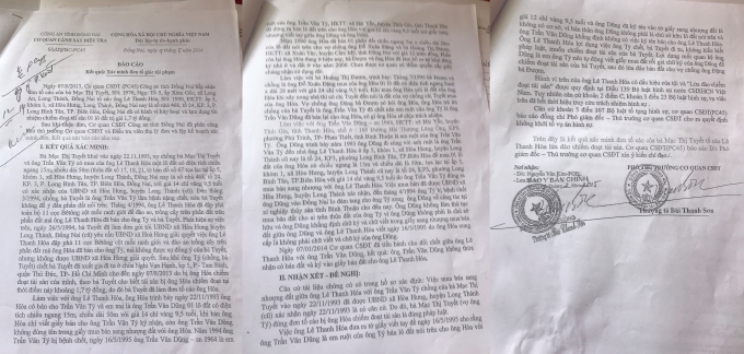 """Kết quả """"Xác minh đơn tố giác tội phạm"""" gửi bà Tuyết bằng văn bản số 228/BC – PC45 ngày 09/05/2014 của cơ quan CSĐT tỉnh Đồng Nai."""