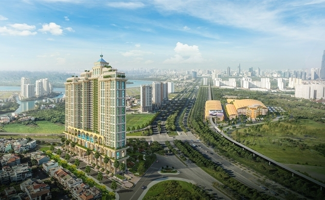 Đại lộ Mai Chí Thọ có 12 làn xe, nằm giữa trung tâm Thủ Thiêm, là tuyến đường tập trung nhiều dự án căn hộ nổi bật của khu Đông Sài Gòn.