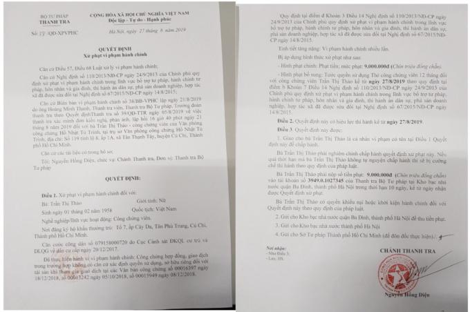 Ngày 27/8/2019, Thanh tra Bộ Tư pháp đã có quyết định số 38/QĐ-XPVPHC, quyết định về việc xử phạt CCV Trần Thị Thảo.
