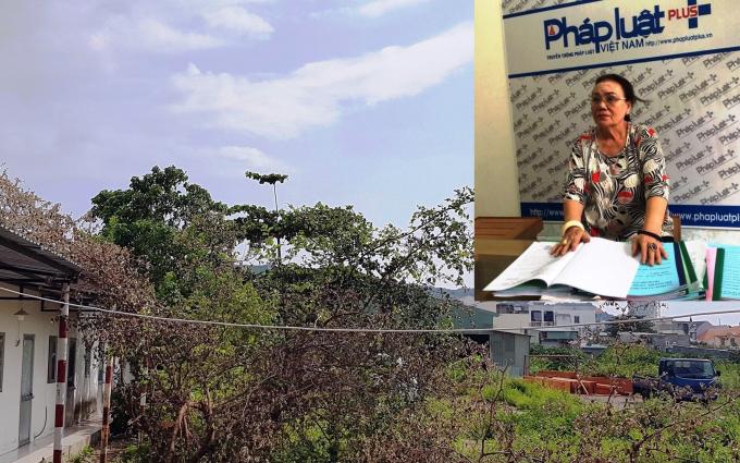 Bà Hương trao đổi với phóng viên và phần đất bị thu hồi làm Trung tâm thương mại Thái Dương vẫn đang