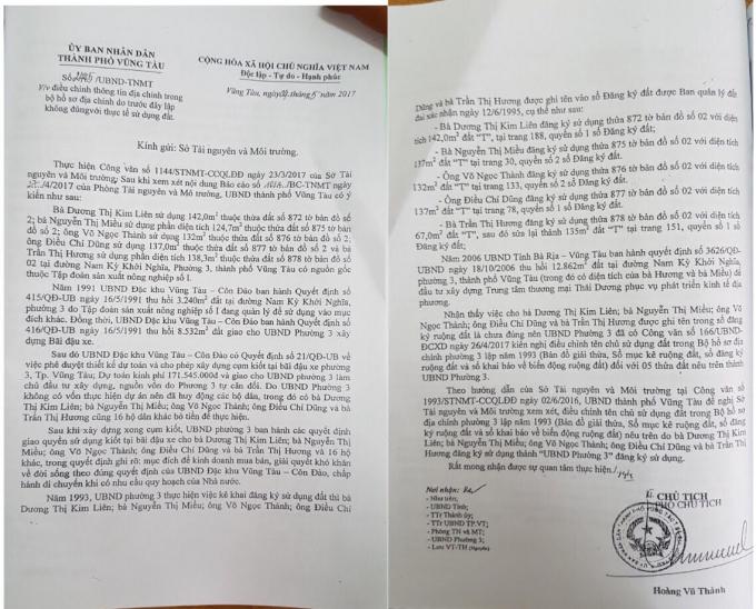 Văn bản của UBND TP Vũng Tàu gửi Sở TNMT.