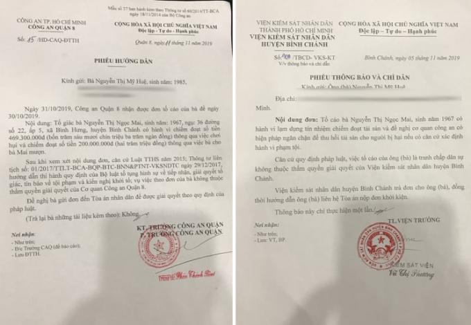 Phiếu hướng dẫn đơn của VKSND huyện Bình Chánh và Công an Quận 8.