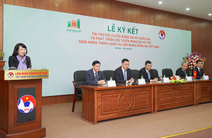 Bà Đặng Thị Ngọc Thịnh phát biểu tại lễ ký kết.
