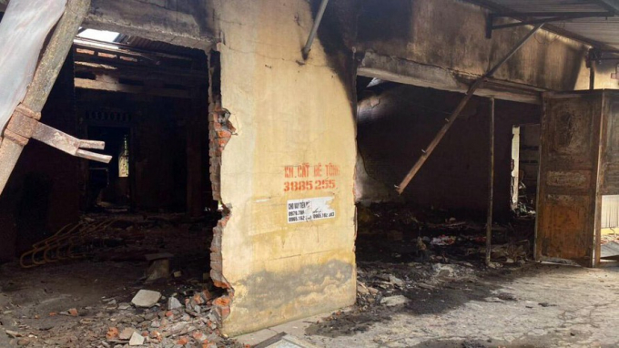 Hiện trường vụ hỏa hoạn tại xã Dũng Tiến, huyện Vĩnh Bảo.