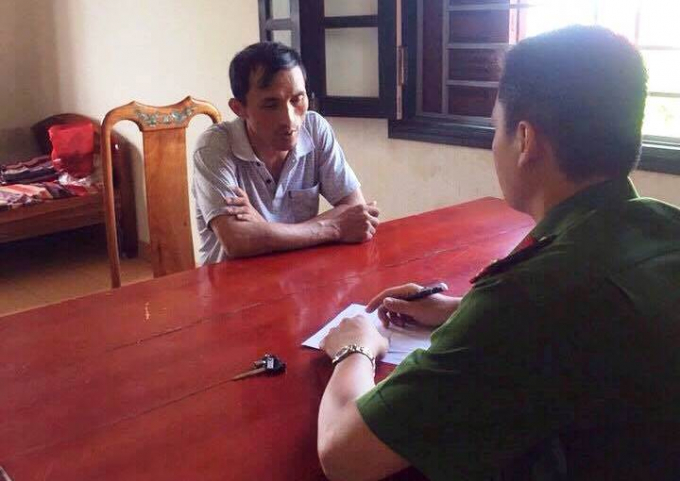Đối tượng Nguyễn Đình Hải tại cơ quan điều tra.
