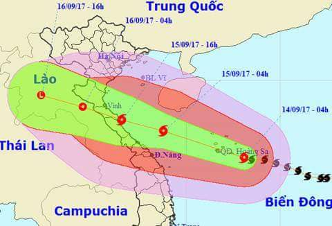 Hướng đi của cơn bão số 10 được dự báo cấp độ 4 (cấp độ 5 là Thảm họa) sẽ ảnh hưởng trực tiếp đến Hà Tĩnh.