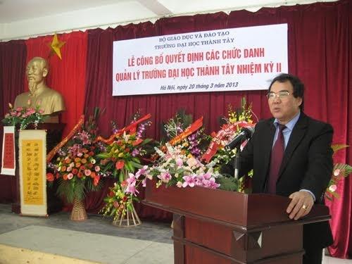 Ông Đinh Ngọc Hiện- HT trường ĐH Thành Tây. (Ảnh: Website trường)