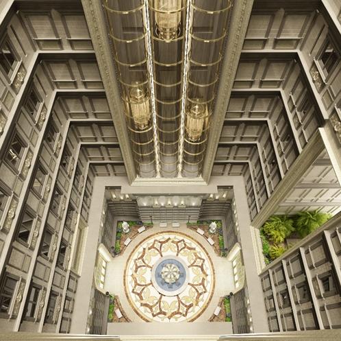 Giếng trời rộng 400m2 tại trung tâm công trình giúp đối lưu không khí thoáng đãng và cân bằng ánh sáng tự nhiên đến từng không gian nhỏ trong mỗi căn biệt thự.